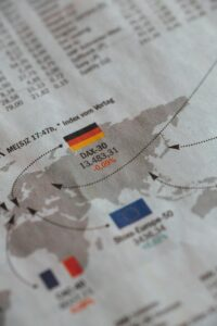 flags of germany eu and france in newspaper